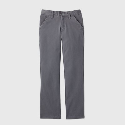 Girls' Flat Front Stretch Uniform Straight Fit Chino Pants - Cat & Jack™ Charcoal Gray