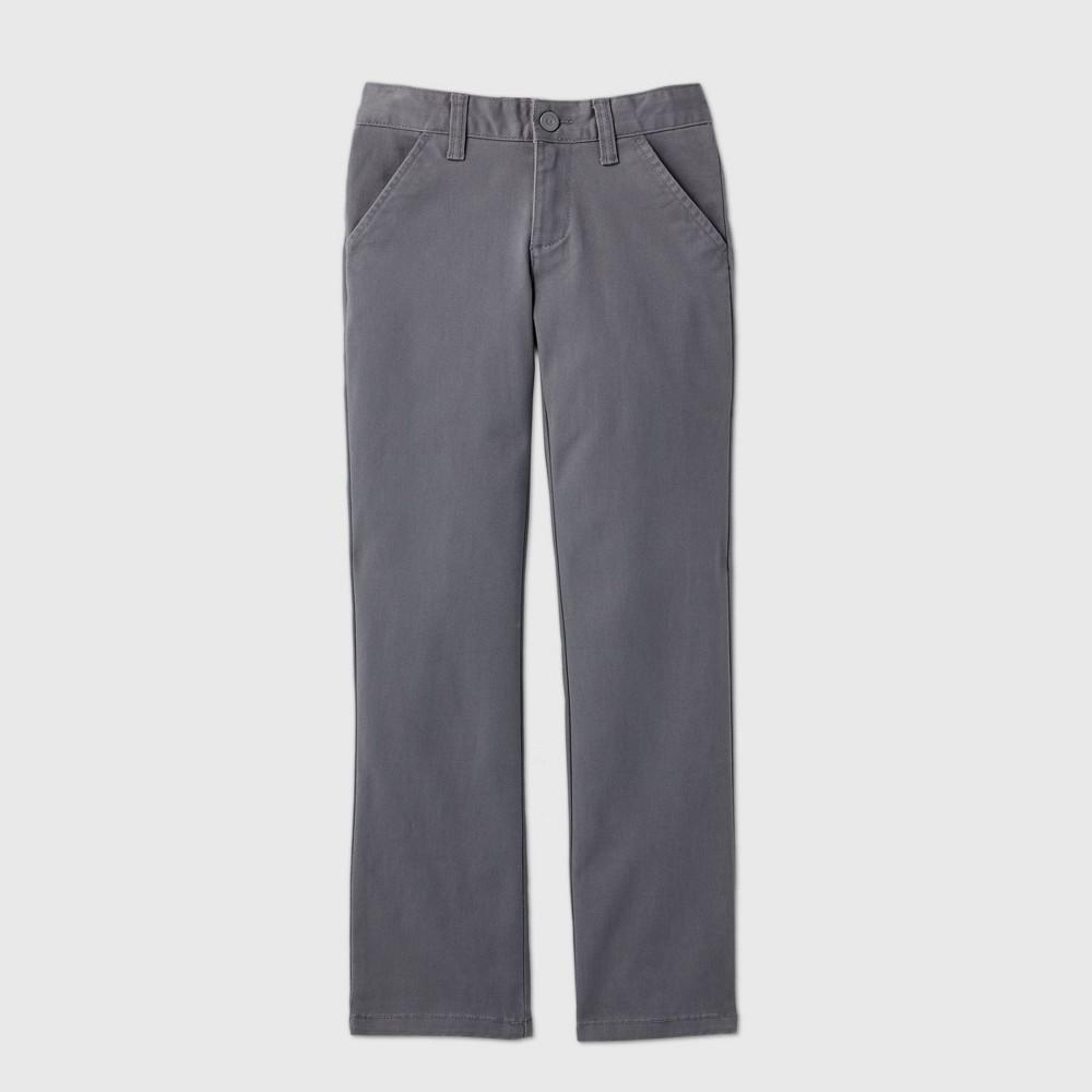 Girls 39 Flat Front Stretch Uniform Straight Fit Chino Pants Cat 38 Jack 8482 Charcoal Gray 5 Slim