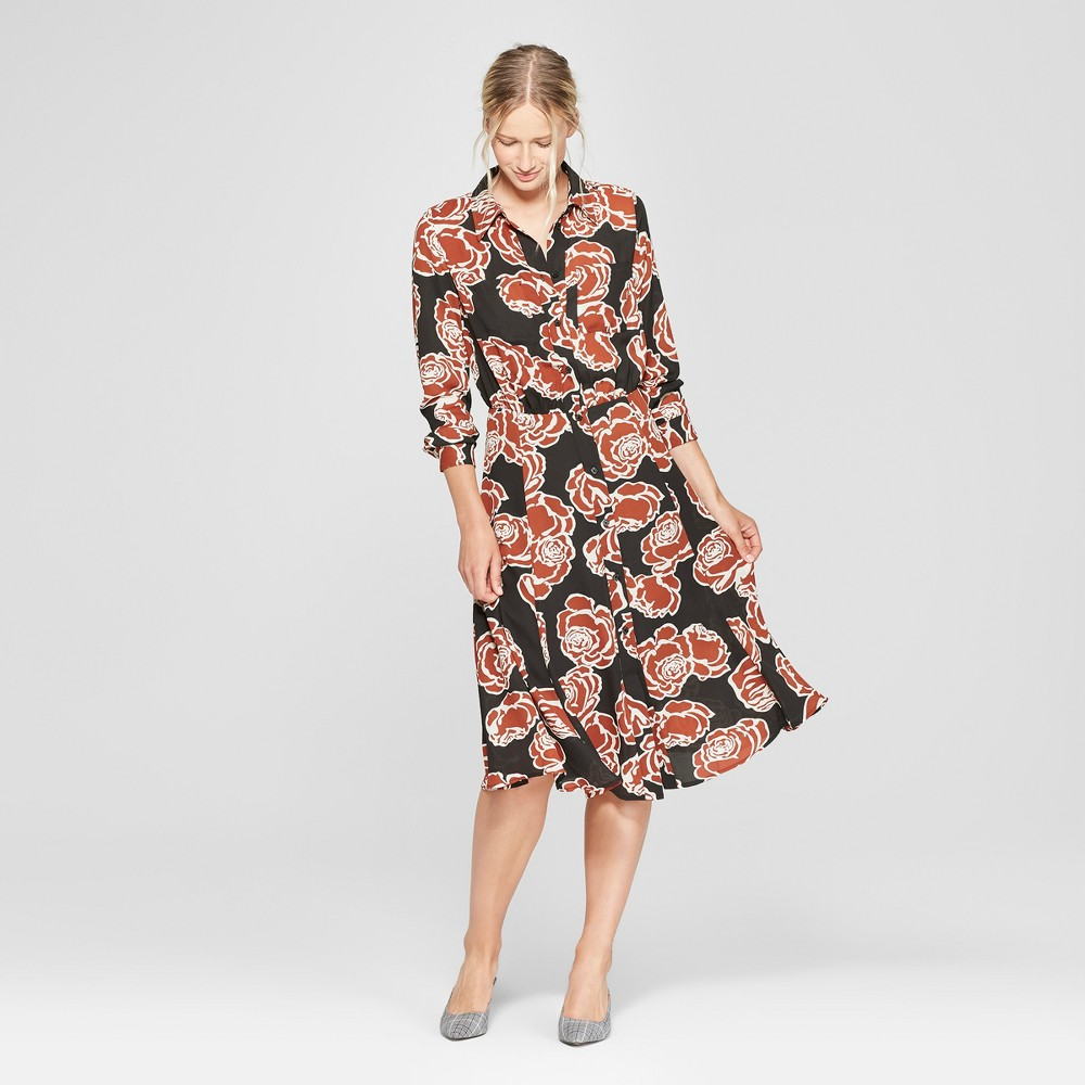 Women's Floral Print Convertible Sleeve Midi Shirtdress - Who What Wear Black M, Black Floral
