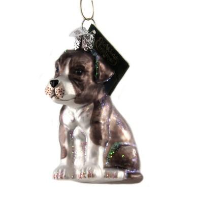 "Old World Christmas 3.5"" Pitbull Pup Protective Stubborn  -  Tree Ornaments"