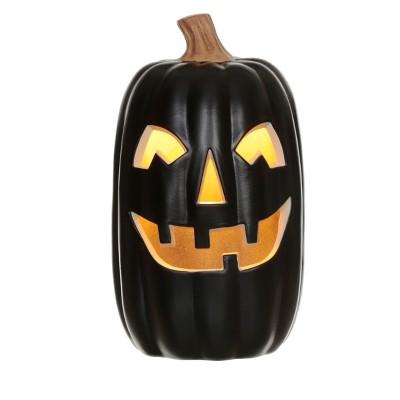 Halloween 16'' Lit Pumpkin Black - Hyde and Eek! Boutique™