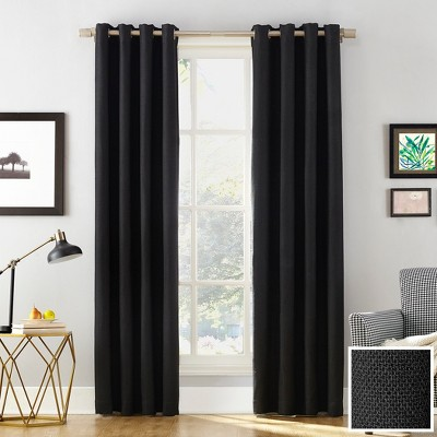 Sun Zero Baxter Theater Grade 100% Blackout Grommet Curtain Panel Black 52 x95