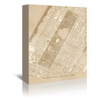 Americanflat Map Of New York Central Park In Vintage Sepia by Blursbyai Wrapped Canvas