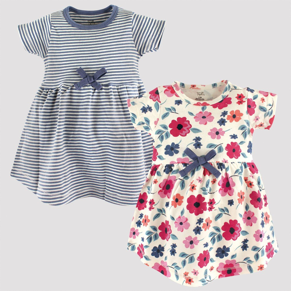 Image of Touched by Nature Baby Girls' 2pk Stripped & Floral Organic Cotton Dress - Blue/Pink 0-3M, Girl's
