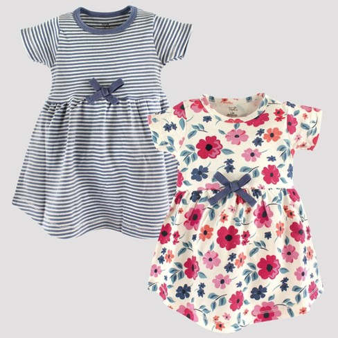 Touched by Nature Baby Girls' 2pk Striped & Floral Organic Cotton Dress Set - image 1 of 1