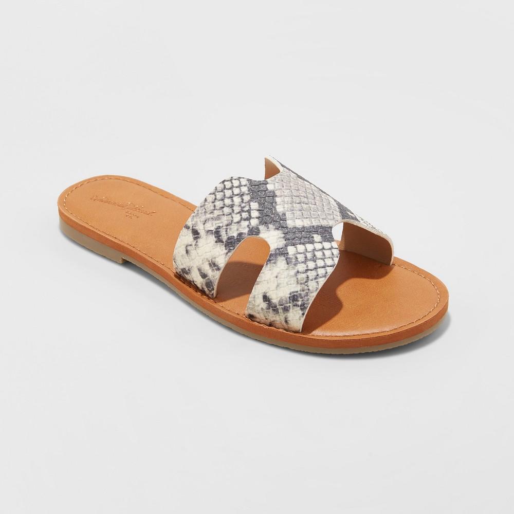 Women's Jenny Wide Width Slide Sandals - Universal Thread Snake 8.5W, Size: 8.5 Wide