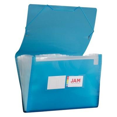 "JAM Paper 10"" x 15"" 13 Pocket Plastic Expanding File Folder - Legal Size - Blue"