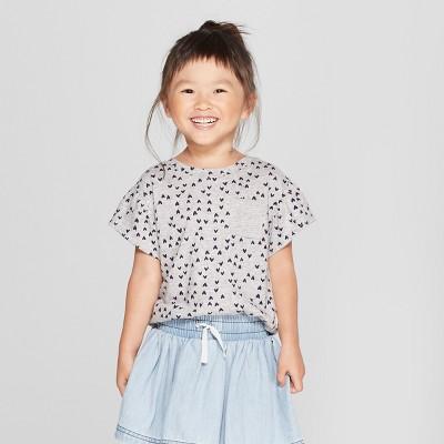Toddler Girls' Short Sleeve T-Shirt - Cat & Jack™ Gray 3T