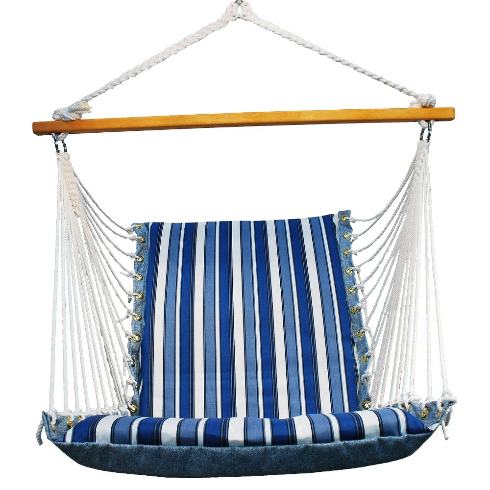 Soft Comfort Patio Hanging Chair Blue Stripe
