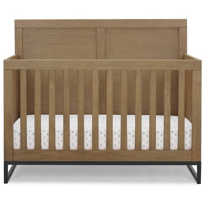 Simmons Kids' Foundry 6-in-1 Convertible Baby Crib - Rustic Acorn with Matte Black