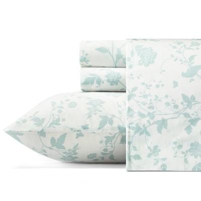 Cotton Garden Palace 300 Thread Count Sheet Set (Queen)Pastel Blue - Laura Ashley