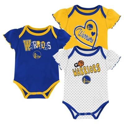 NBA Golden State Warriors Girls' Draft Pick Body Suit Set 3pk - 12M