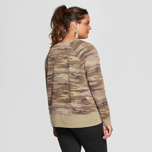 70c51397e39 Women s Plus Size Star Camouflage Print Graphic Sweatshirt - Grayson  Threads (Juniors ) Green   Target