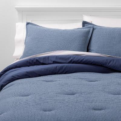 Full/Queen Washed Waffle Weave Comforter & Sham Set Blue - Threshold™