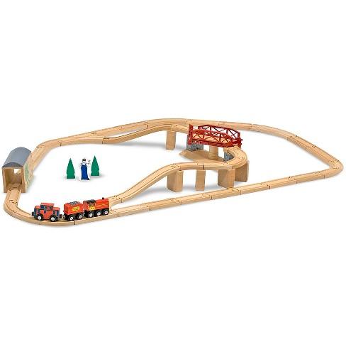 Melissa & Doug Swivel Bridge Wooden Train Set (47pc) - image 1 of 4
