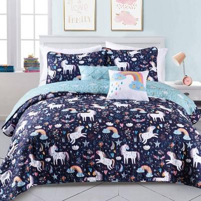 Unicorn Heart Bedding Set with Unicorn Throw Pillow - Lush Décor