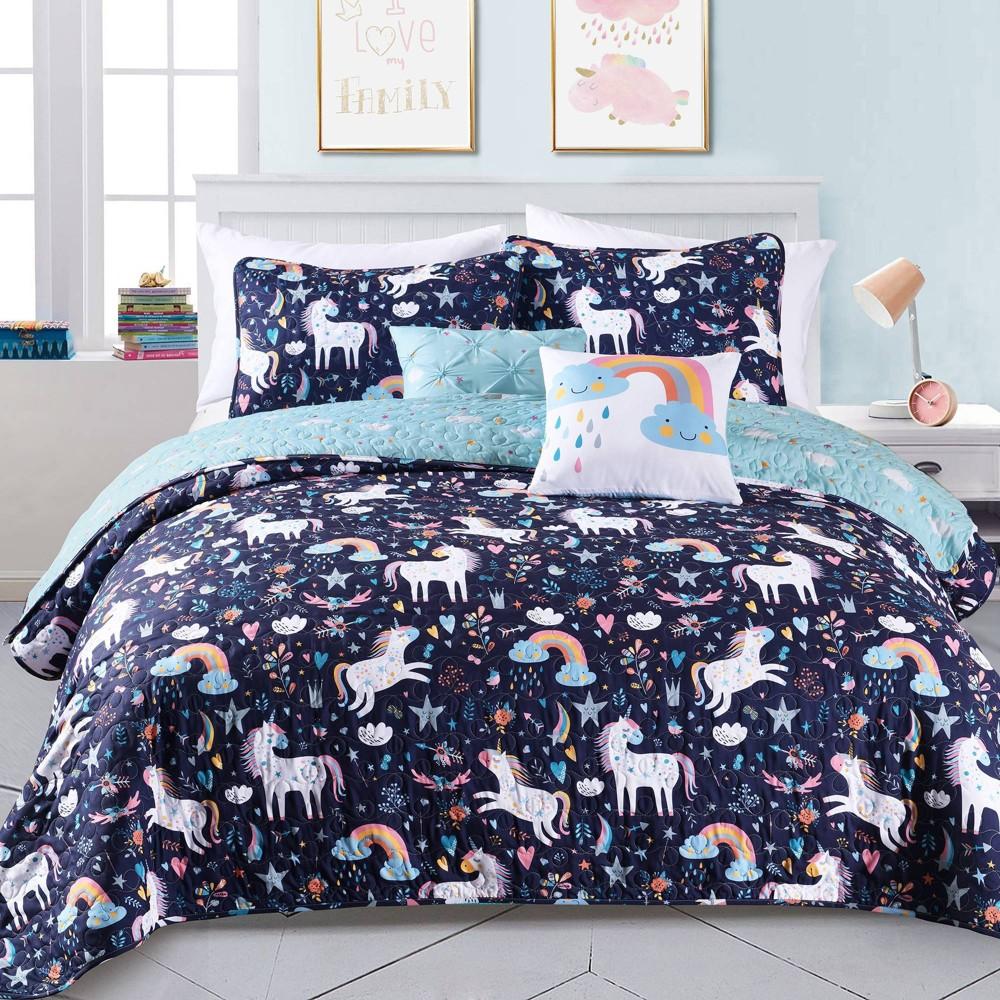 Image of 4pc Twin Unicorn Heart Bedding Set with Unicorn Throw Pillow Navy - Lush Décor