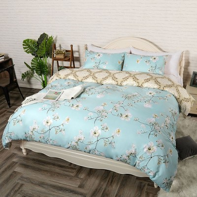 3 Pcs Polyester Spring Bloom Pattern Floral Bedding Sets Queen Multicolor - PiccoCasa