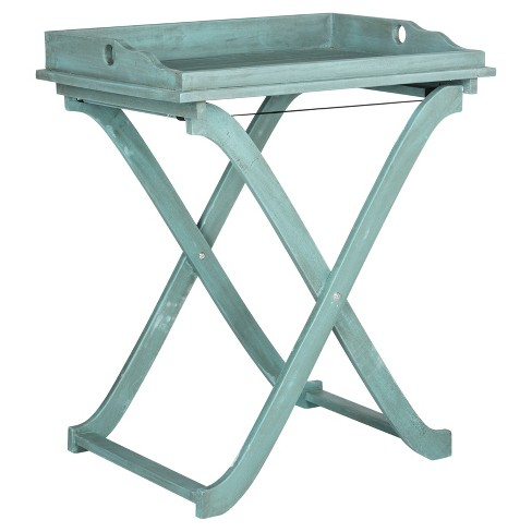 Covina Rectangle Tray Table - Beach House Blu - Safavieh® - image 1 of 3