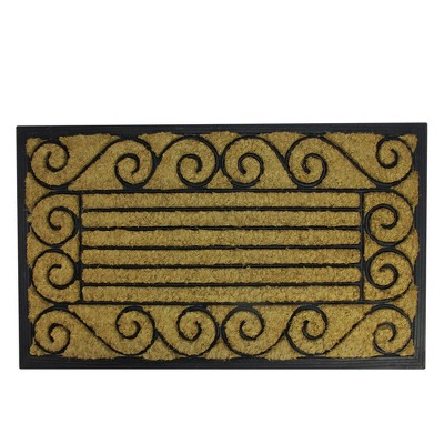 """Northlight Black and Brown Contemporary Striped Outdoor Rectangular Doormat 17.75"""" x 29.5"""""""