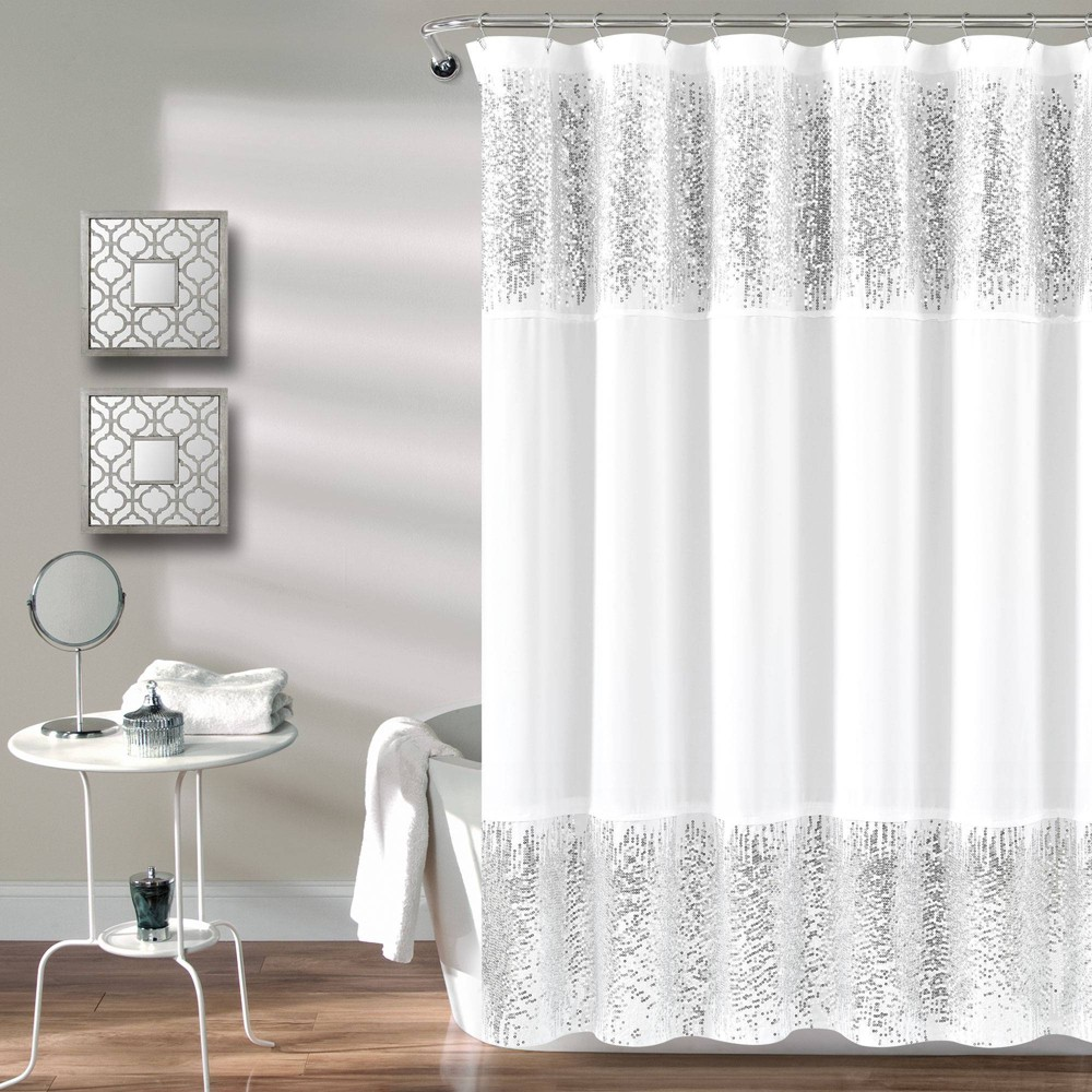 "Image of ""70""""x72"""" Shimmer Sequins Solid Shower Curtain Silver - Lush Décor"""