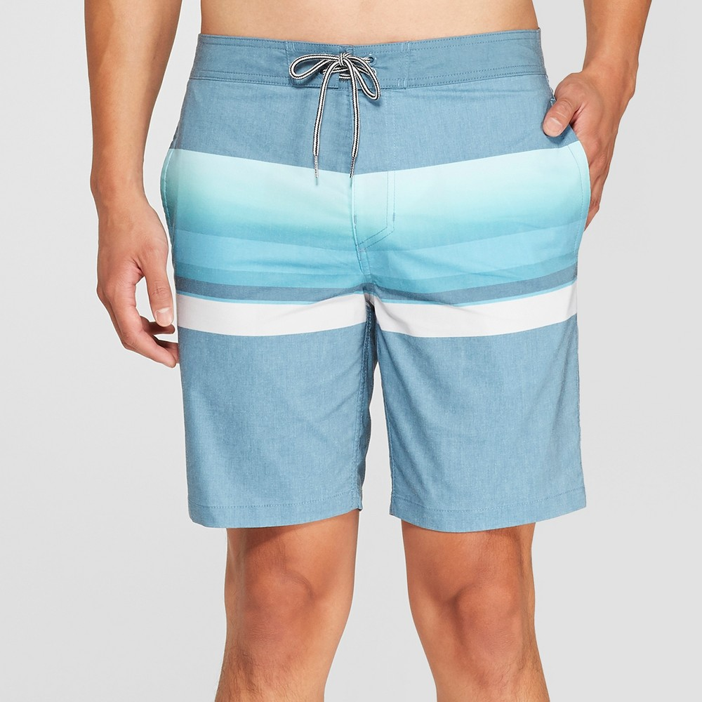 Men's Striped 8.5 Queso Board Shorts - Goodfellow & Co Teal 34, Blue