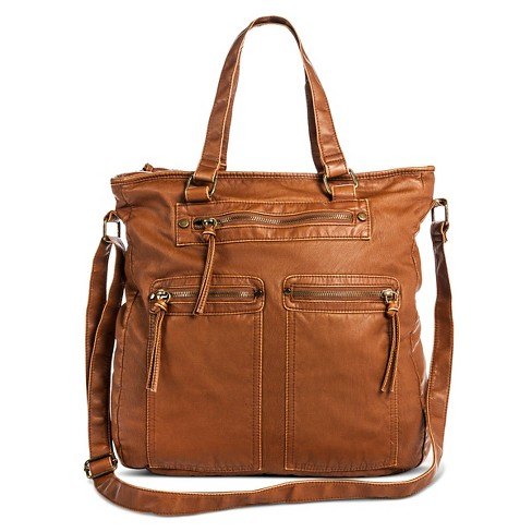 Women's Zip Closure Tote Faux Leather Handbag Cognac - Mossimo Supply Co.™ - image 1 of 3
