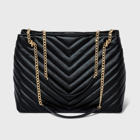 Quilted Chain Handle Tote Handbag - A New Day™ - image 1 of 4