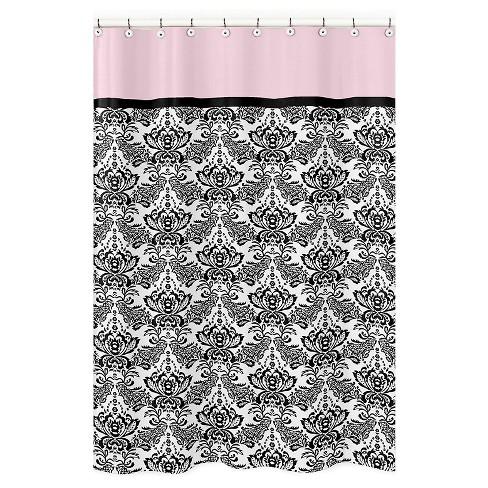 Sophia Shower Curtain Black Pink