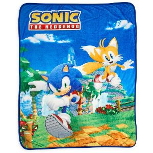 Just Funky Sonic The Hedgehog Sonic Tails Large Fleece Throw Blanket 60 X 45 Inches Target