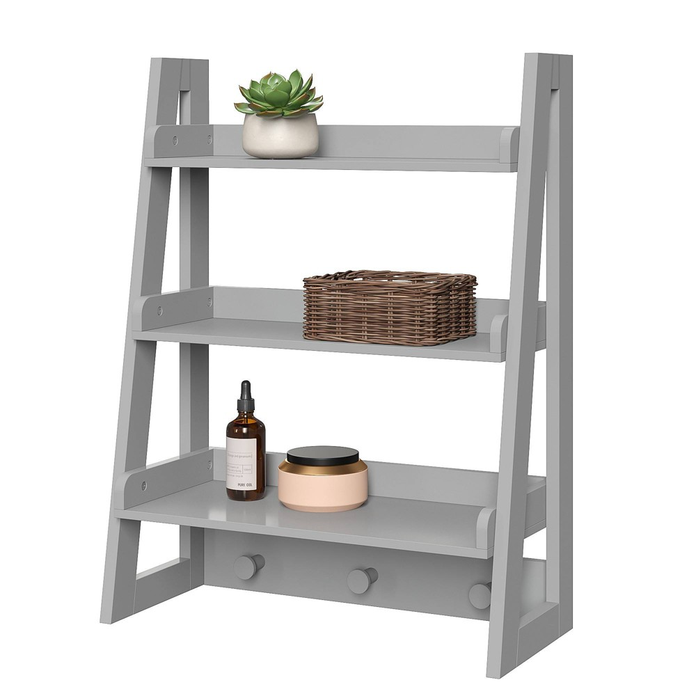 Image of Wall Mounted Ladder Shelf with Towel Hooks Gray