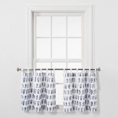 "42""x24"" Paisley Curtain Tier Panel Blue - Threshold™"