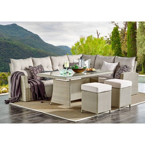 All-Weather Wicker Canaan Large Outdoor Sectional Sofa with Cushions Brown  - Alaterre Furniture