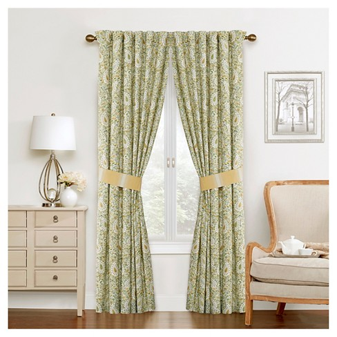 Waverly Curtain Panel Pair Green/Yellow/Ivory Paisley - image 1 of 2