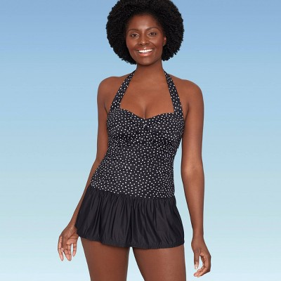Women's Slimming Control Ruched Front Swim Dress - Dreamsuit by Miracle Brands Multi