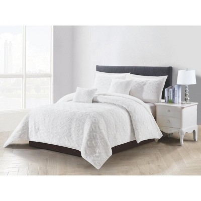 Lily NY Diamond Clip Cut Woven Comforter 5PC Set