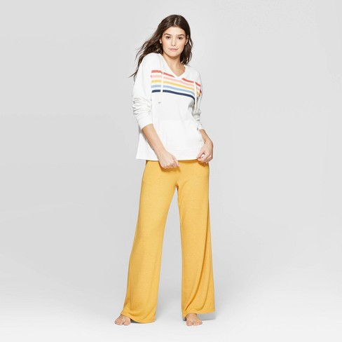Women's Striped Lounge Sleep Sweatshirt - Colsie™ White - image 1 of 3