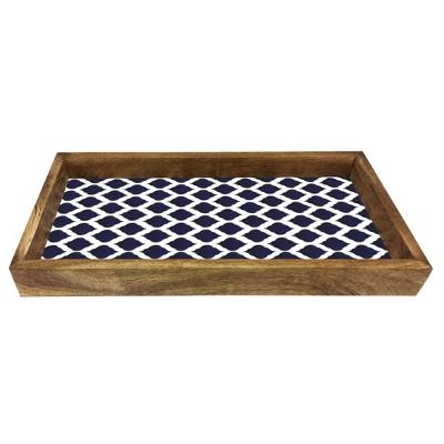 "6.5""x13"" Resin Wooden Tray Blue Denim - Nu Steel"