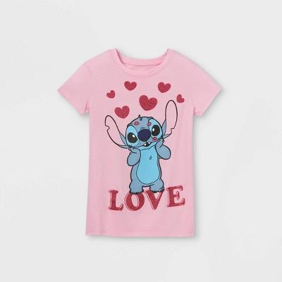 Girls' Stitch 'Love' Short Sleeve T-Shirt - Pink