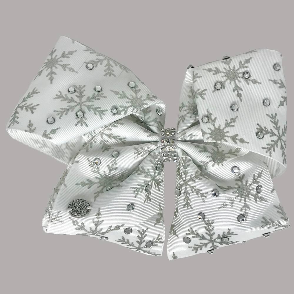 Image of Girls' Nickelodeon JoJo Siwa Glitter Snowflakes Bow Hair Clip - White, Girl's, White Black