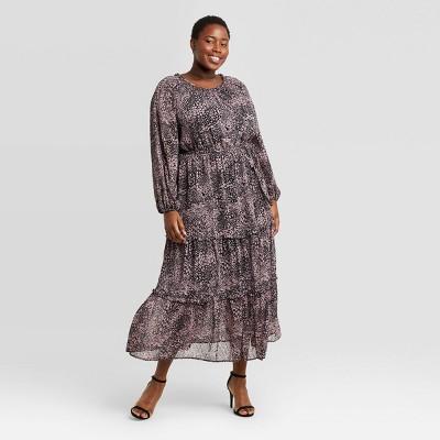 Women's Plus Size Floral Print Long Sleeve Tiered Dress - Ava & Viv™