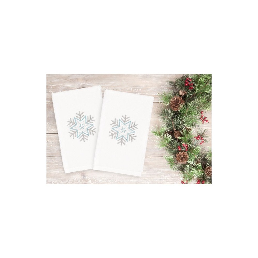 Image of 2pk Crystal Snowflake Hand Towels White - Linum Home Textiles