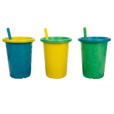 The First Years GreenGrown Reusable Spill-Proof Straw Toddler Cups - Blue - 3pk/10oz