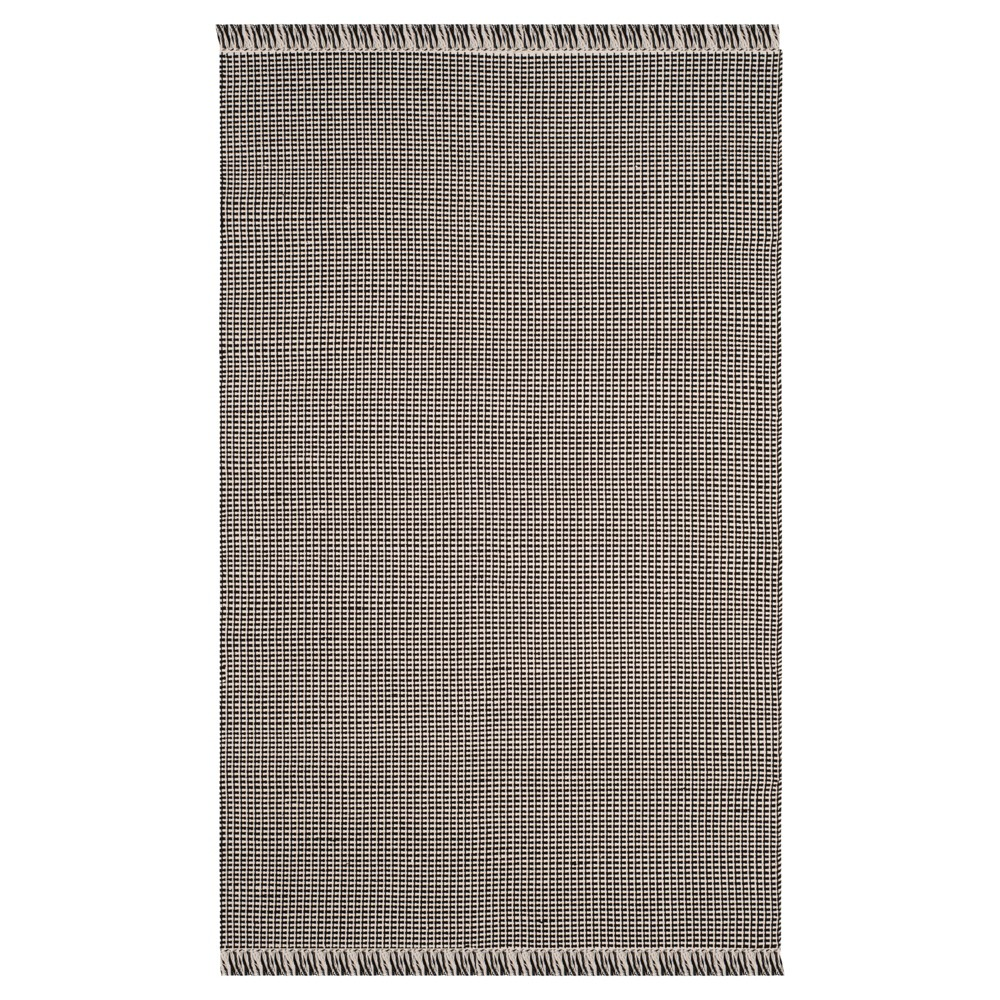 Ivory/Black Stripe Flatweave Woven Area Rug 5'X8' - Safavieh