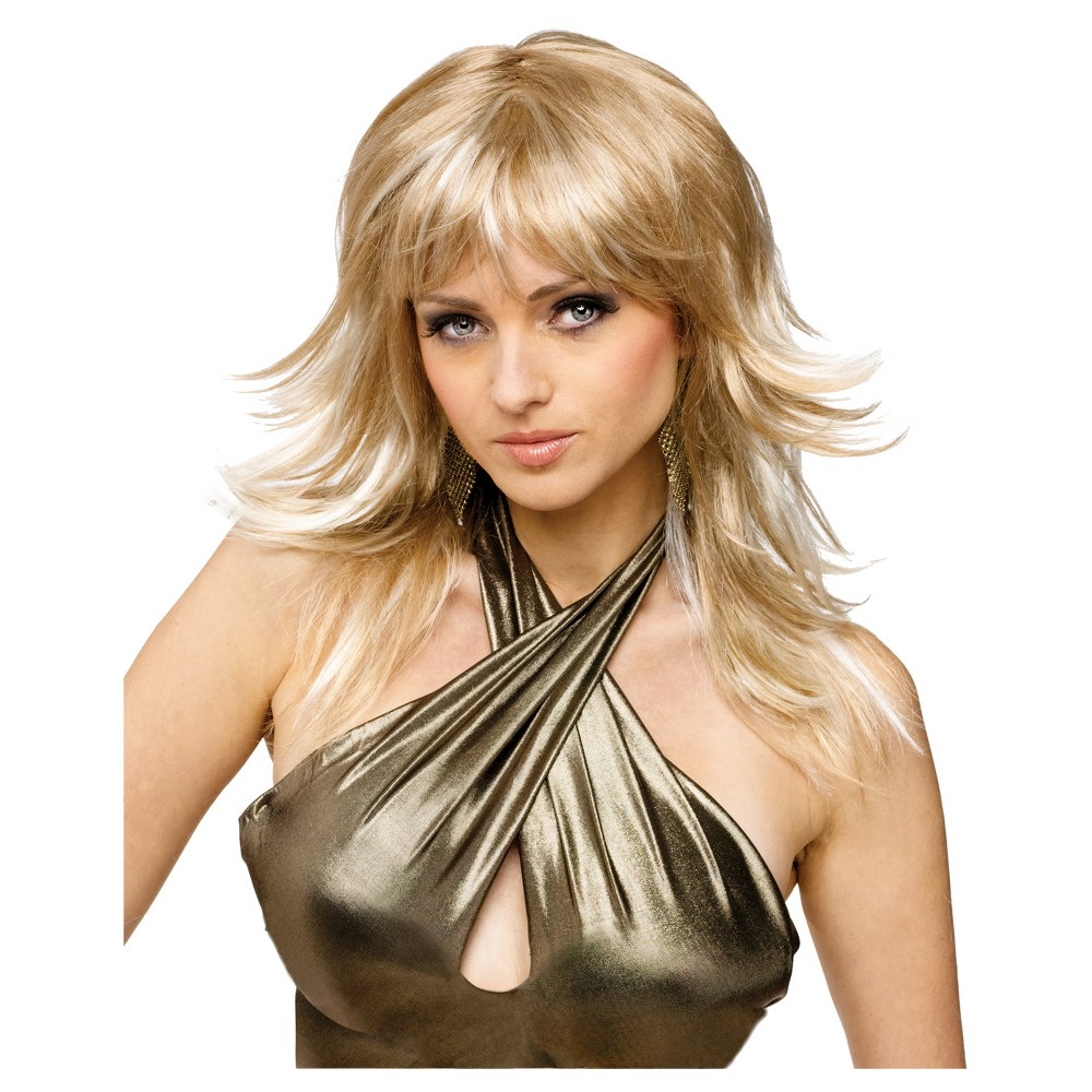 Feathered Frisky Costume Wig Golden - One Size Fits Most, Women's