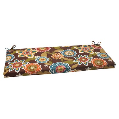 Outdoor Bench Cushion - Brown/Turquoise Floral