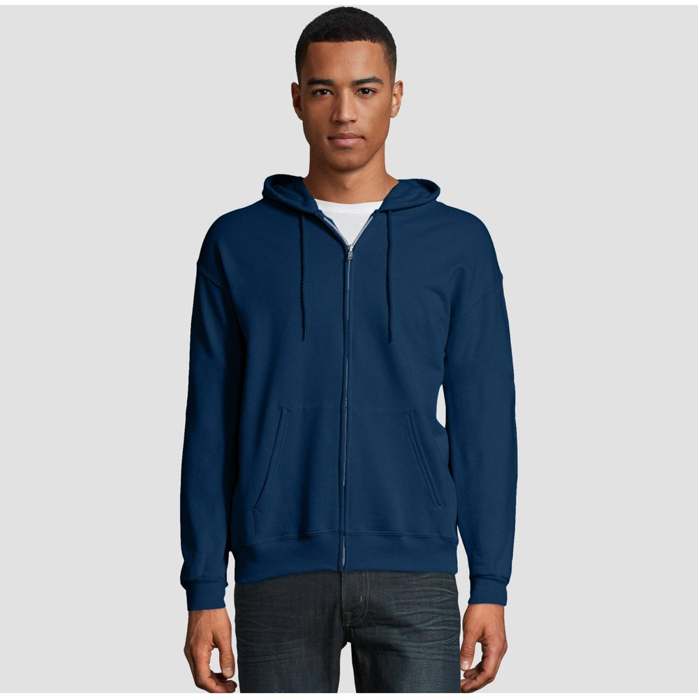 Hanes Men 39 S Big 38 Tall Ecosmart Fleece Full Zip Hooded Sweatshirt Navy 3xl