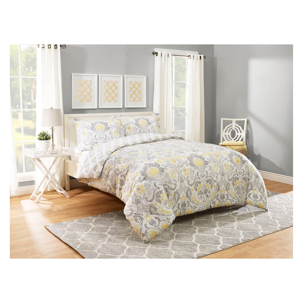 Image of Gray Rayna Reversible Comforter Set (Queen) - Marble Hill, Gray Yellow