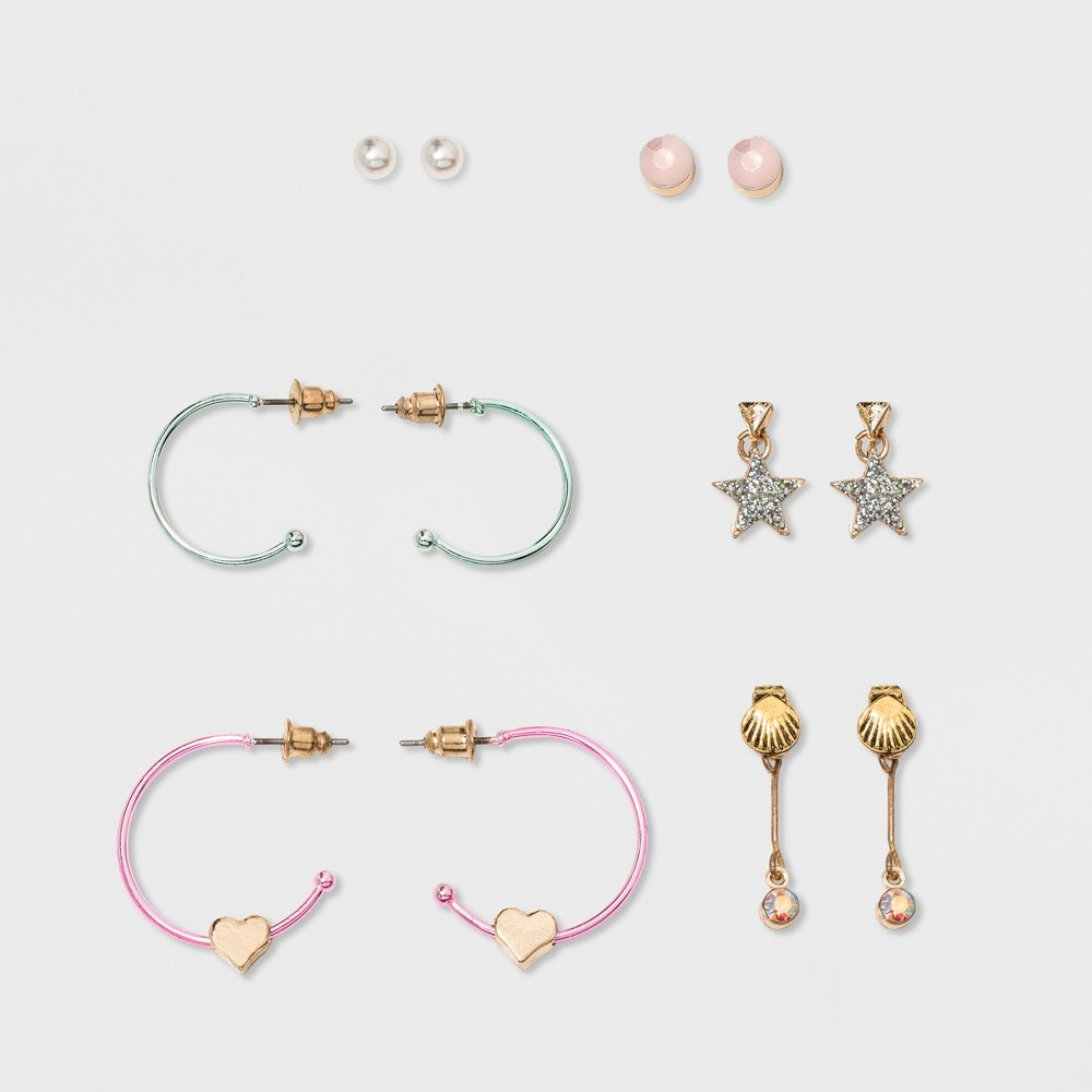 Girls' 6ct Earring Set - Cat and Jack, Multciolor