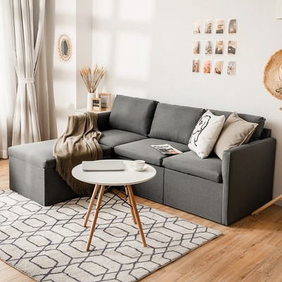 Costway Convertible Sectional Sofa L-Shaped Couch w/Reversible Chaise Dark Grey\Green\Light Grey